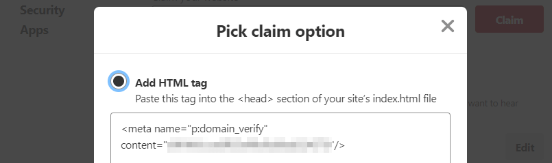 Selecting the option to add an HTML tag to your website.