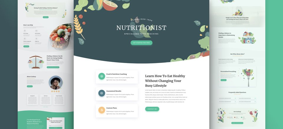 Get a FREE Nutritionist Layout Pack for Divi