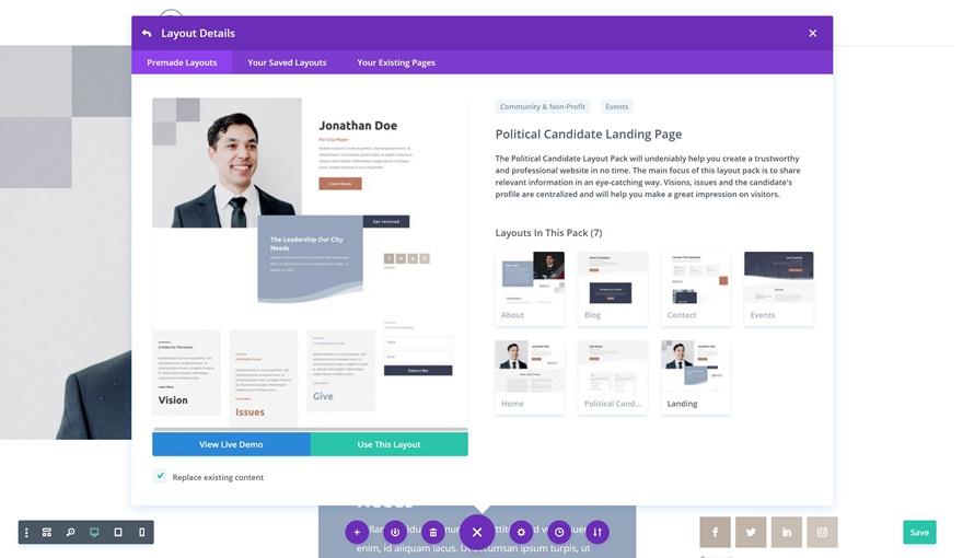 Get a FREE Political Candidate Layout Pack for Divi | Elegant Themes