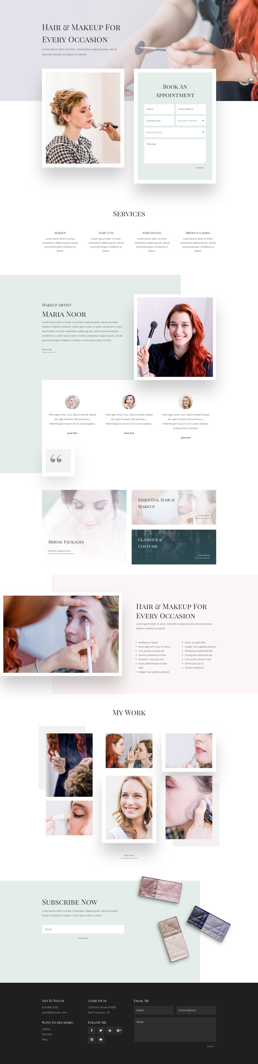 Free Makeup Artist Layout Pack For Divi