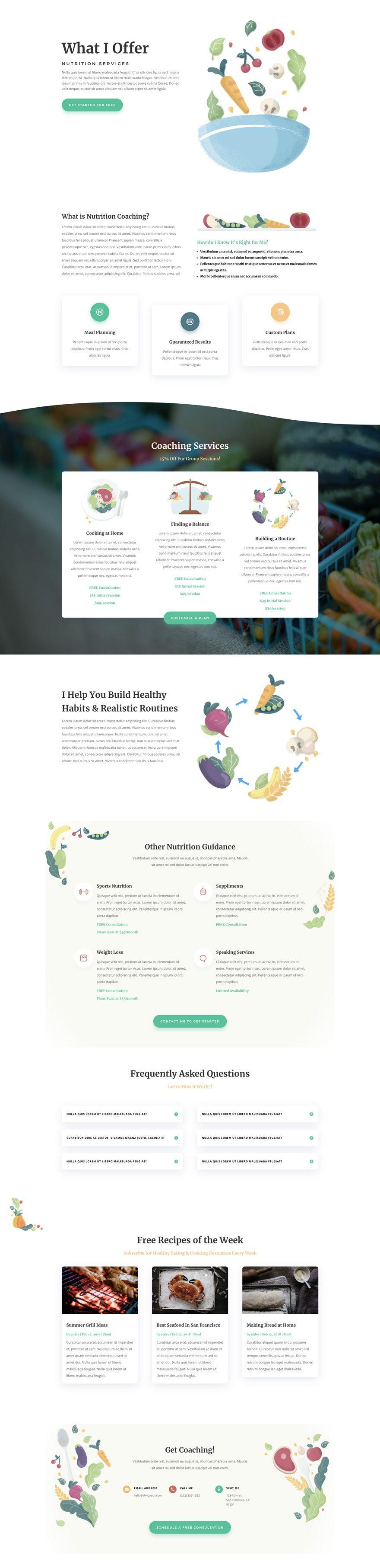 paquete de diseño nutricionista divi