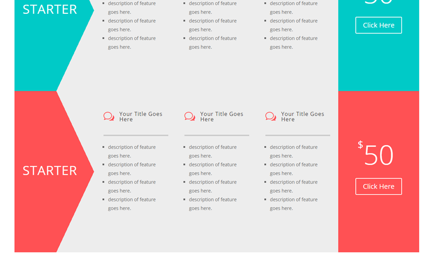 divi horizontal pricing tables