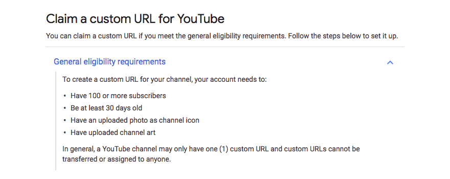 YouTube custom URL requirements
