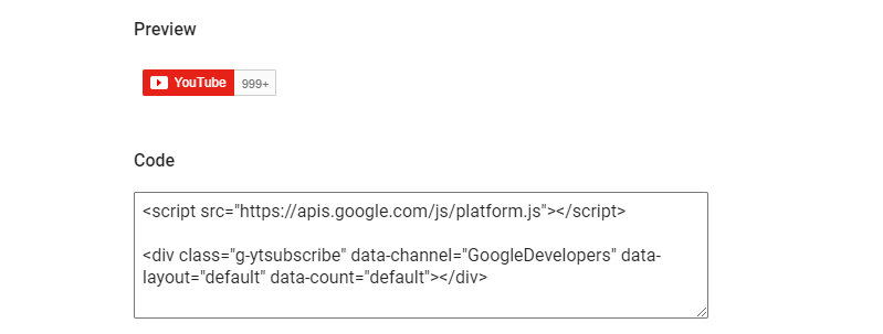 The code you need to display a YouTube subscribe button.