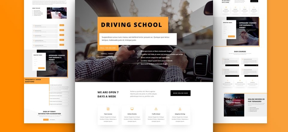 Get a FREE Driving School Layout Pack for Divi
