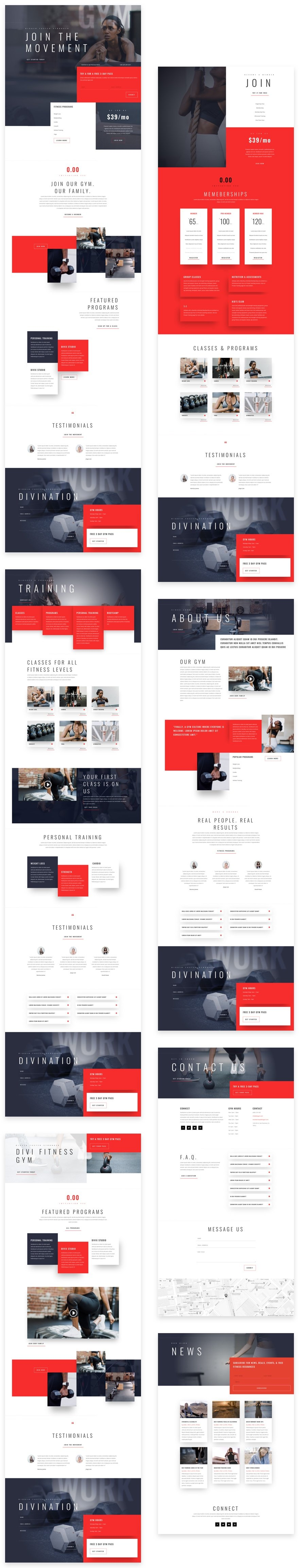 Get a FREE Fitness Gym Layout Pack for Divi