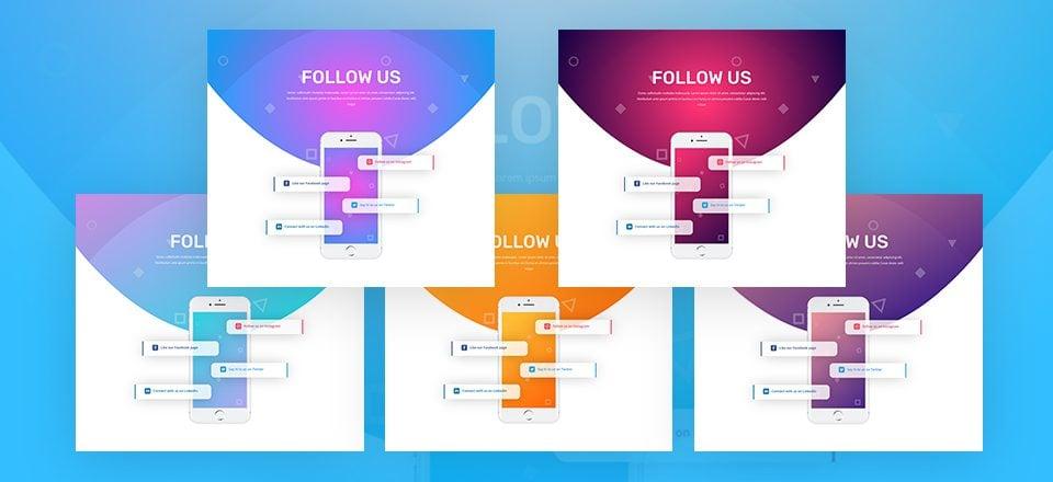 Download a Unique Social Follow Design with 5 Color Palettes for Divi