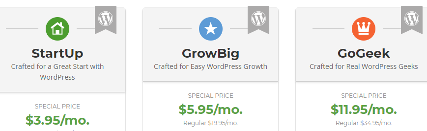 Some examples of budget WordPress hosting plans.