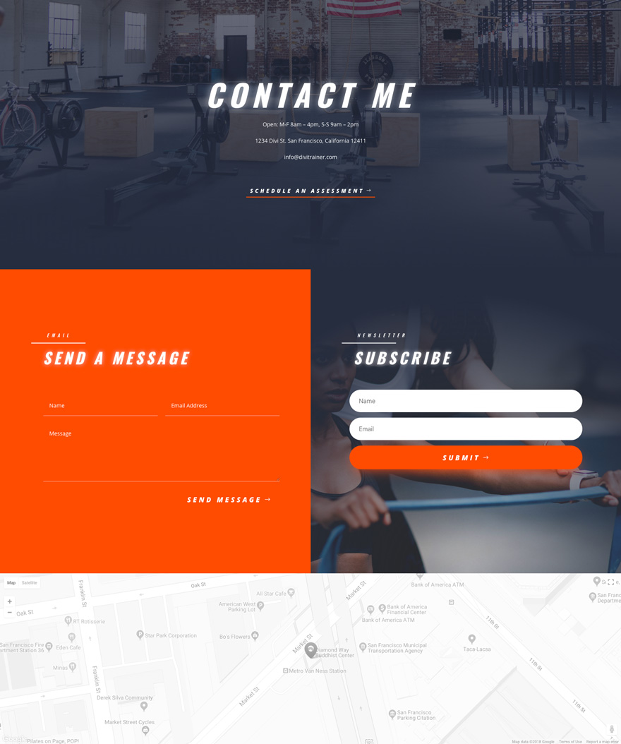 divi personal trainer layout