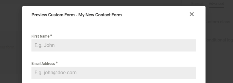 Previewing your contact form.