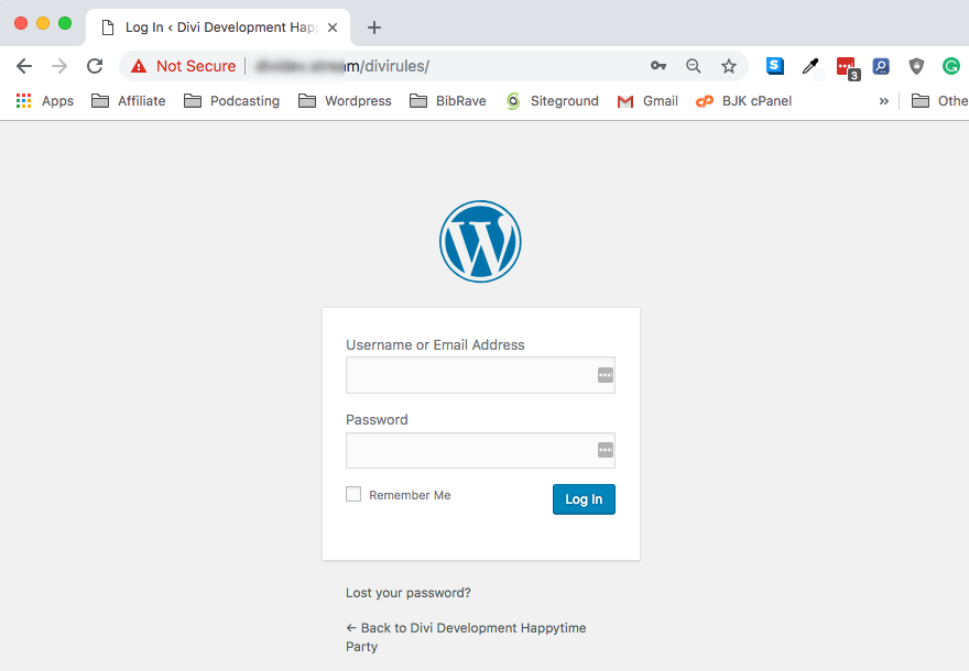 WordPress login change url