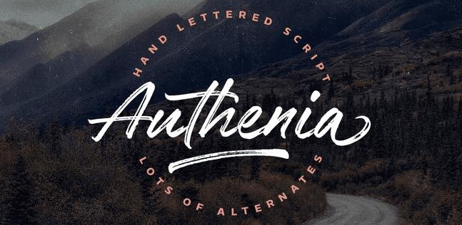The Authenia font.