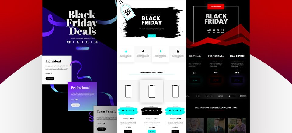 Download 3 FREE Black Friday Countdown Landing Pages for Divi