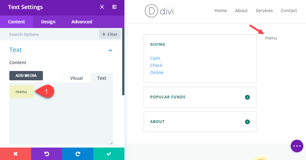 divi pop-out menu