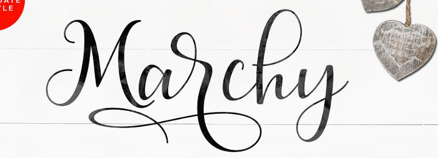 An example of the Marchy Script font.
