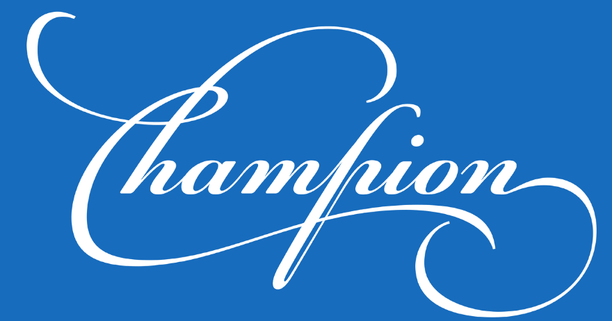 An example of the PF Champion Script Pro font.