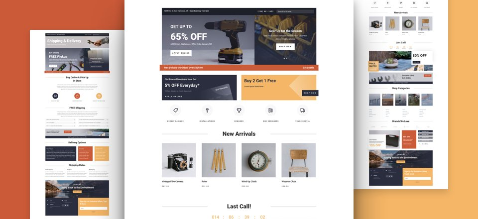 Get a FREE Hardware Store Layout Pack for Divi