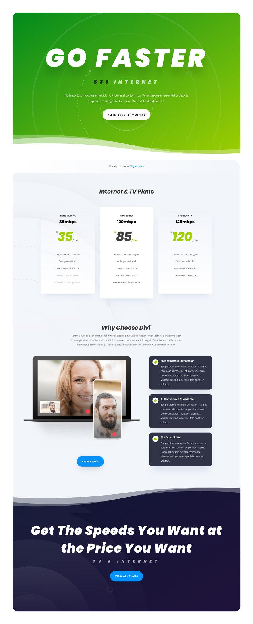 Get a FREE Internet Service Provider Layout Pack for Divi | Elegant