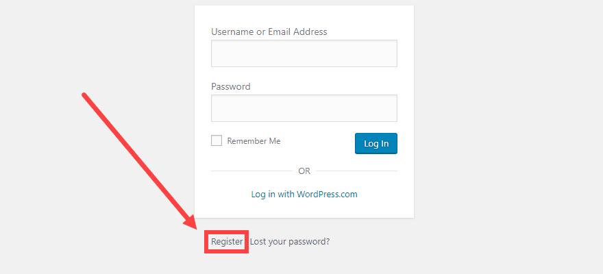 Page d'inscription des utilisateurs WordPress