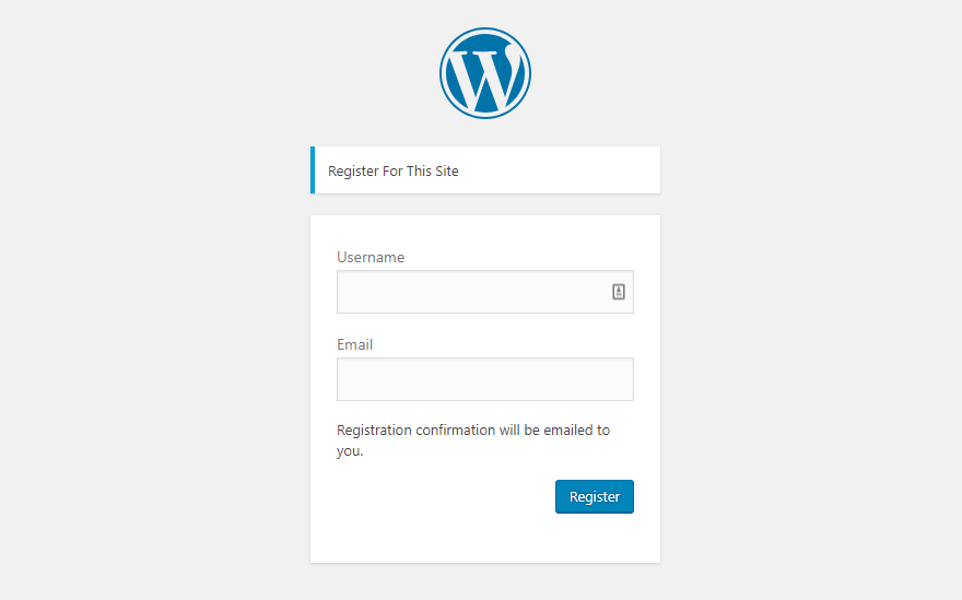 WordPress User Registration Page