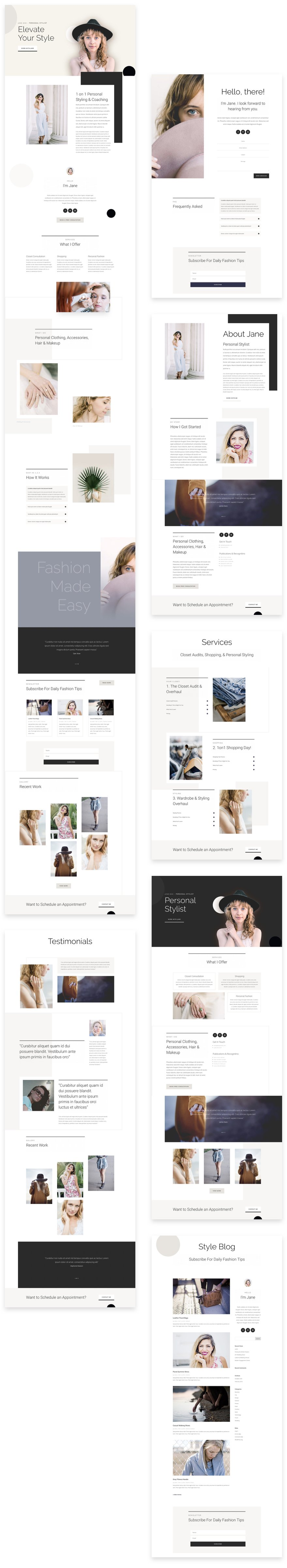 personal stylist layout pack