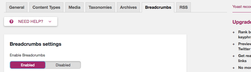 Enabling breadcrumbs in Yoast.