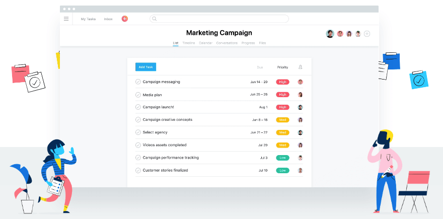 Asana's website, featuring an example of a task list.