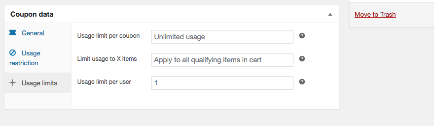 Adding usage limits to a new coupon.