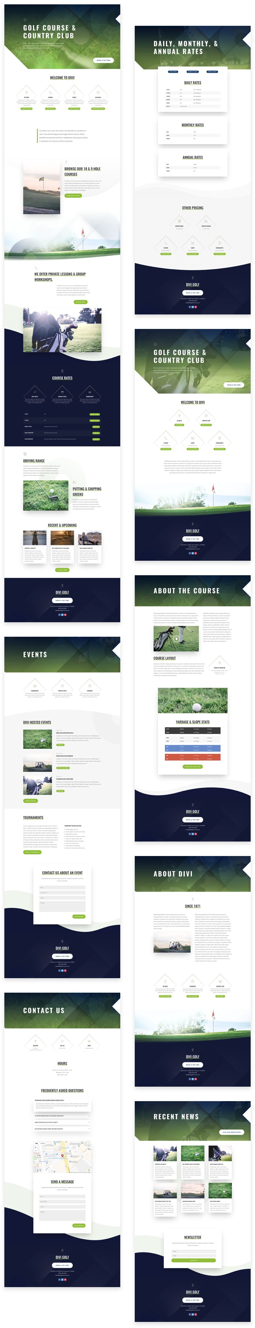 Get a FREE Golf Course Layout Pack for Divi