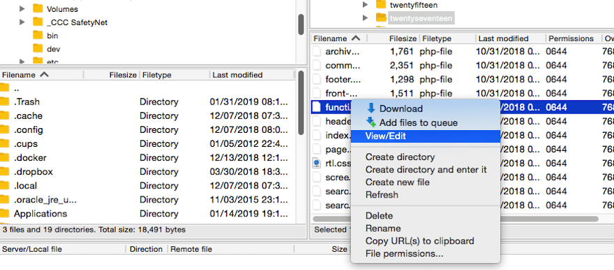 Selecting the functions.php file to edit via FTP.