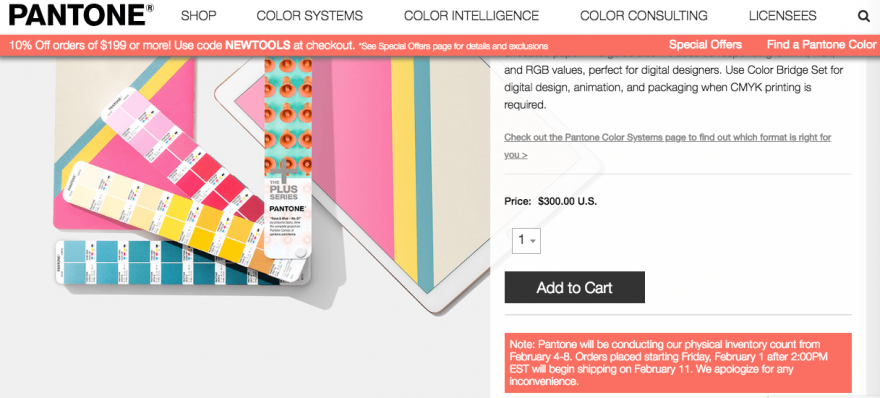 A product page from Pantone's site.