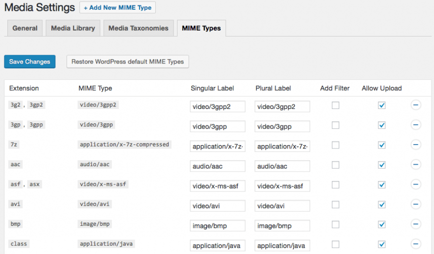 The Enhanced Media Library mime types settings.