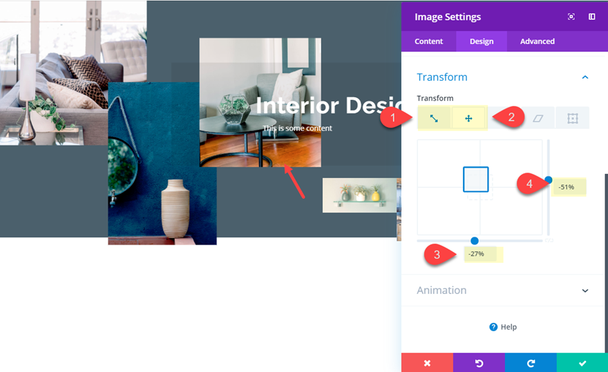 position images in Divi