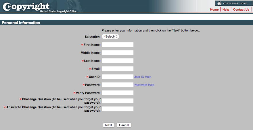 The electronic Copyright Office's account registration form.