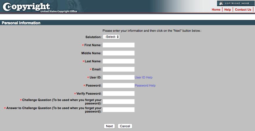 El formulario de registro de cuenta de la Oficina electrónica de derechos de autor.