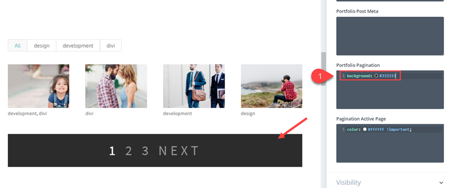 style pagination in divi