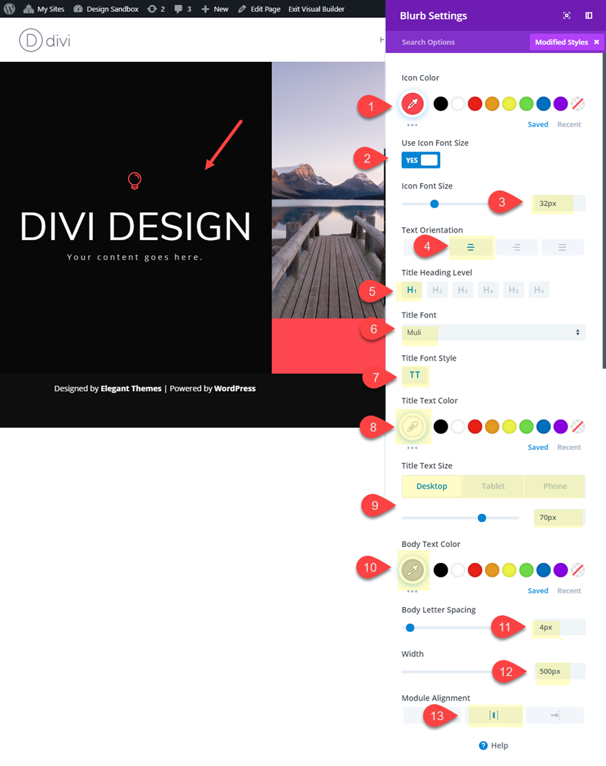 rotate text in divi