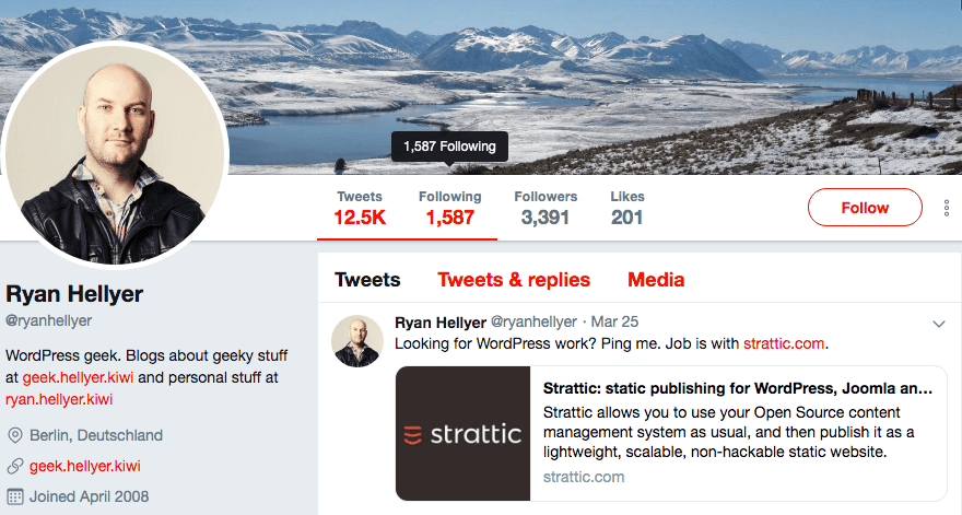 Ryan Hellyer's Twitter profile.