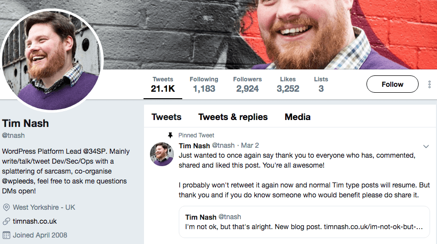 Tim Nash's Twitter profile.