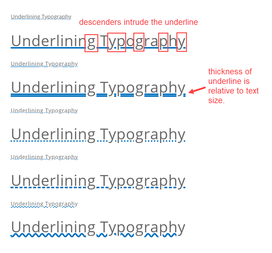 text underlining styles