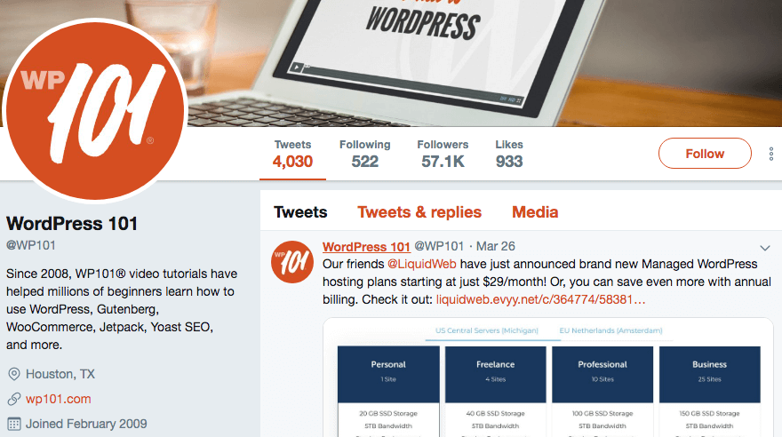 The Twitter profile for WP101.