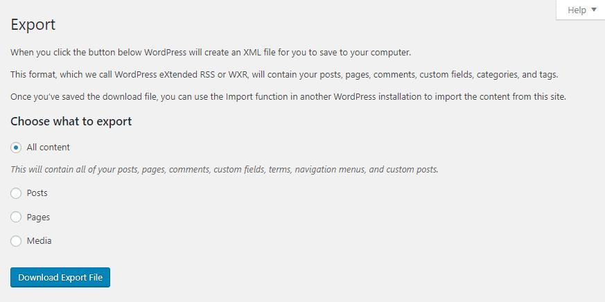 Exportación de contenido de WordPress.
