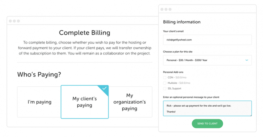 Flywheel's client billing transfer feature.