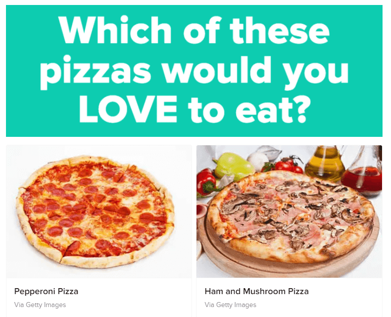 A Buzzfeed quiz about pizza.