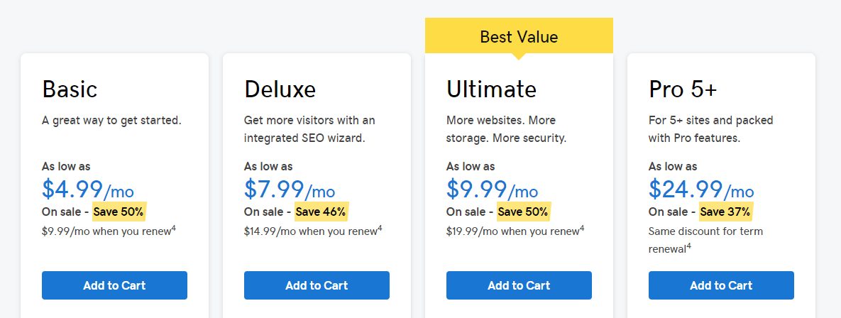 The GoDaddy pricing page.