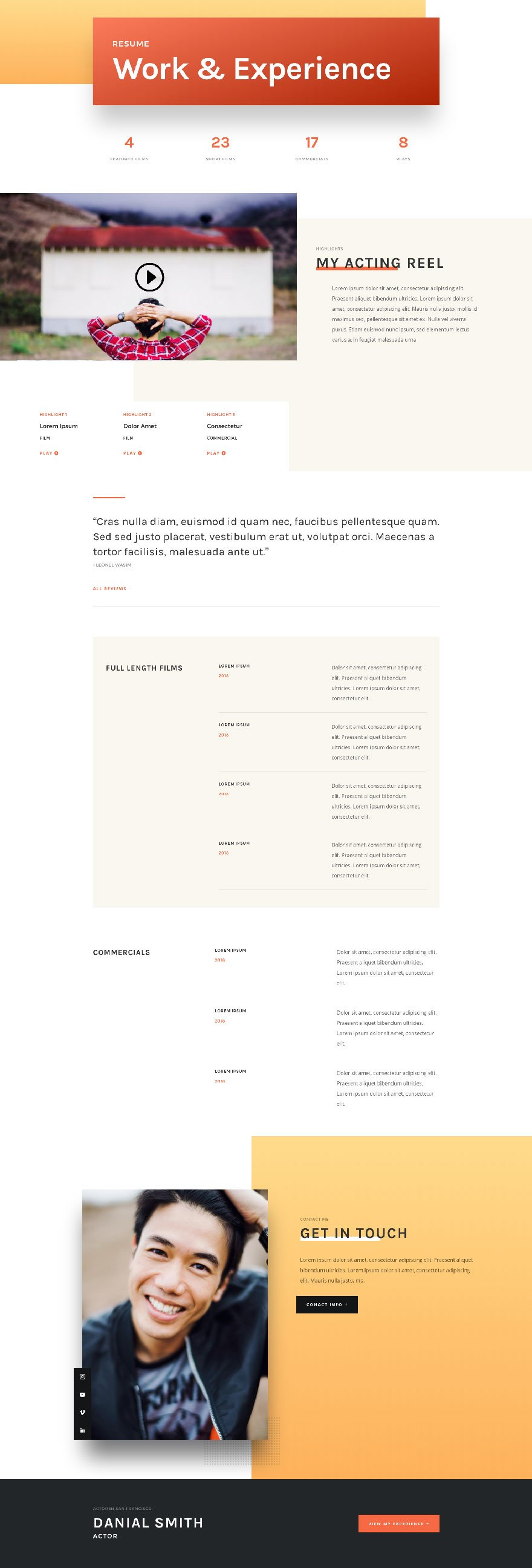 Get A Free Actor Cv Layout Pack For Divi Elegant Themes Blog