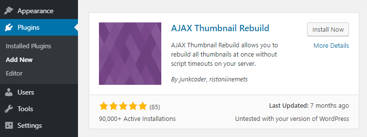 The AJAX Thumbnail Rebuild plugin.