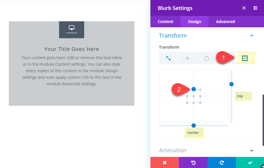 Divi Transform Properties on Click