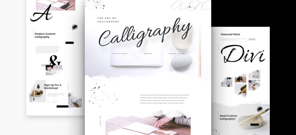 Get a FREE Calligrapher Layout Pack for Divi