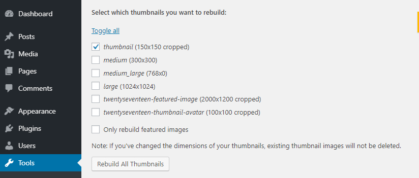 WordPress thumbnail settings.